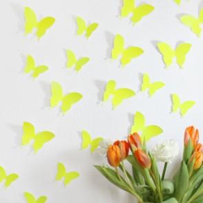 Wandtattoo 3D - Schmetterlinge neon gelb