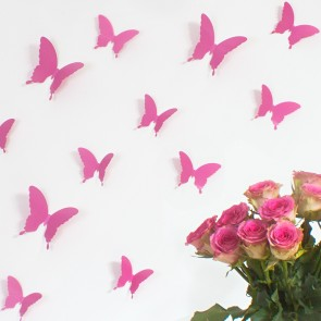 Wandtattoo 3D - Schmetterlinge pink