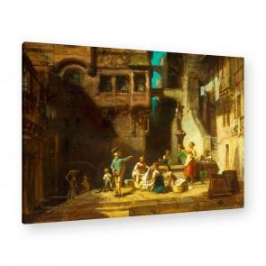 Wäscherinnen am Brunnen als Leinwandbild zum aufhängen
