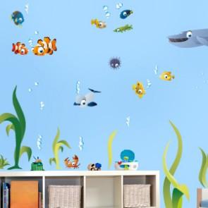Wandsticker Set - große bunte Unterwasserwelt