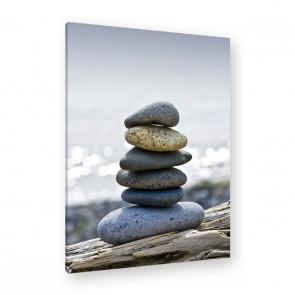 Leinwandbild - Steinturm - Balancierte Steine - Meditation