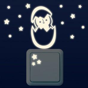 Leuchtaufkleber für Lichtschalter - Baby Pinguin Set