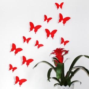 Wandtattoo 3D - Schmetterlinge rot