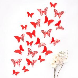 Wandtattoo 3D - Schmetterlinge rot mit Ornamenten / Muster