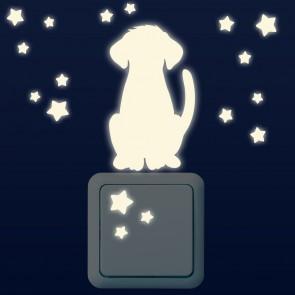 Leuchtaufkleber für Lichtschalter - Hunde Set