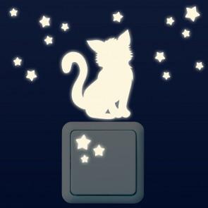 Leuchtaufkleber für Lichtschalter - Kätzchen Set