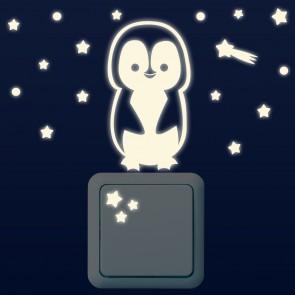 Leuchtaufkleber für Lichtschalter - Pinguin Set
