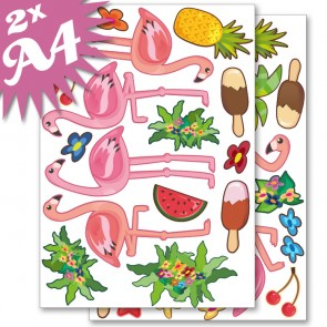 Wandsticker Set A4 - Flamingo
