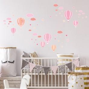 Wandsticker Set XL - Heißluftballons Rosa