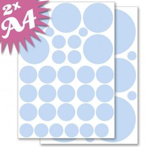 Wandsticker Set A4 - Pastell Punkte Blau