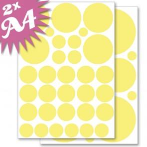 Wandsticker Set A4 - Pastell Punkte Gelb