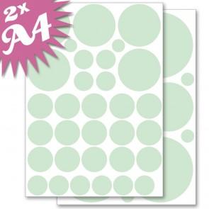 Wandsticker Set A4 - Pastell Punkte Grün