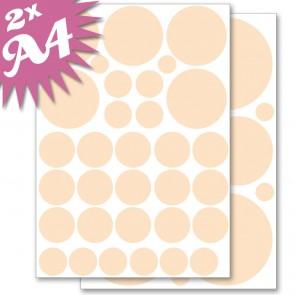 Wandsticker Set A4 - Pastell Punkte Orange
