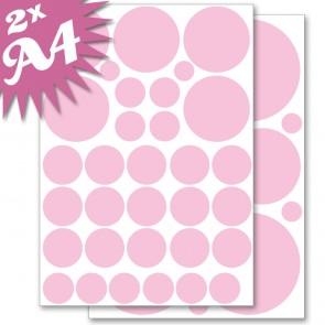 Wandsticker Set A4 - Pastell Punkte Rosa