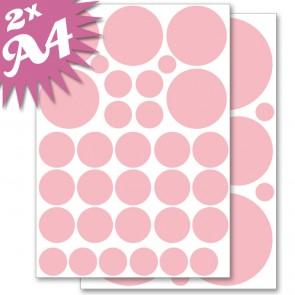 Wandsticker Set A4 - Pastell Punkte Rot