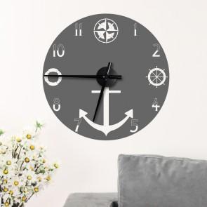 Wandtattoo Uhr - Anker