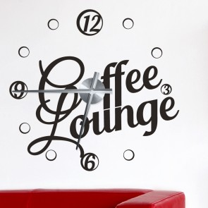 Wandtattoo Uhr - Coffee Lounge