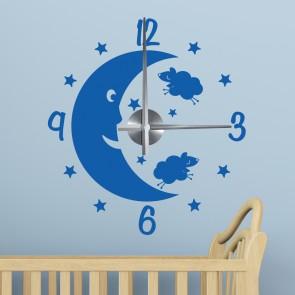 Wandtattoo Uhr - Gute Nacht Mond