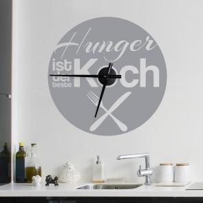 Wandtattoo Uhr - Hunger ist der beste Koch