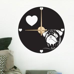 Wandtattoo Uhr - Mops