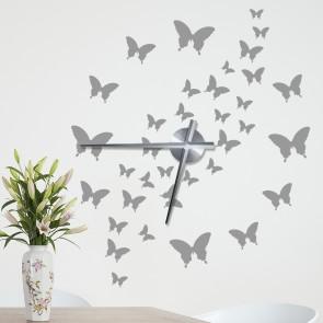 Wandtattoo Uhr - Schöner Schmetterlingsschwarm