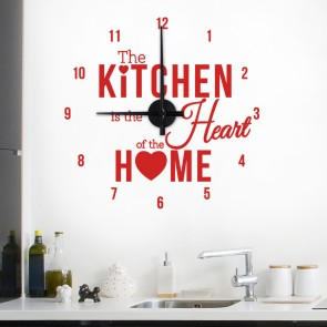 Wandtattoo Uhr The kitchen is the heart of the home