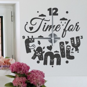 Wandtattoo Uhr - Time for Family