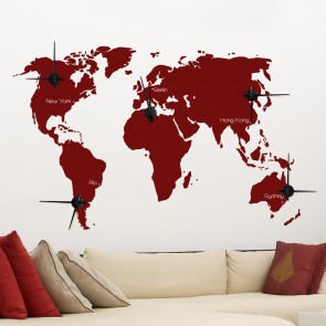 Wandtattoo Uhr -  Zeitzonen Weltkarte