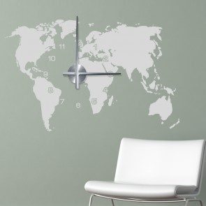 Wandtattoo Uhr - Weltkarte
