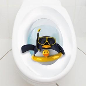 WC Aufkleber Pinguin mit Rettungsring