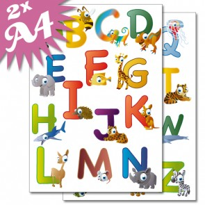 Wandsticker Set A4 - lustiges Tier ABC