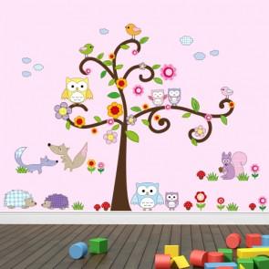 Wandsticker Mega Set - Eulenbaum und Waldtiere