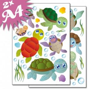 Wandsticker Set A4 - lustige Schildkröten