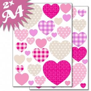 Wandsticker Set A4 - süße Herzen