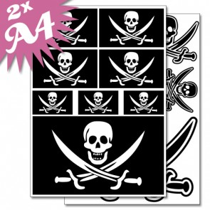 Wandsticker Set A4 - Piraten Flagge Totenkopf