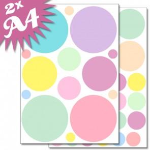 Wandsticker Set A4 - Pastell Punkte