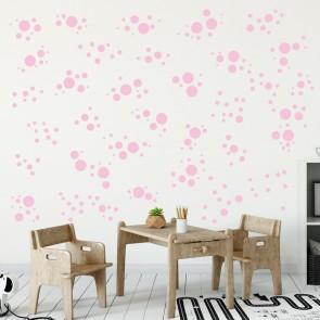 Wandsticker Set Mega - Pastell Punkte Rosa