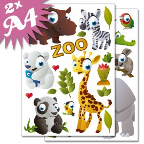 Wandsticker Set A4 - Zoo