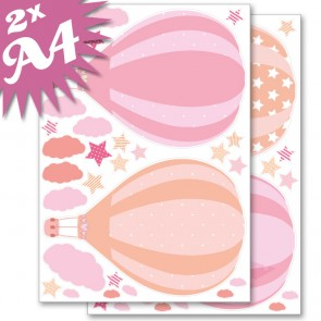 Wandsticker Set A4 - Heißluftballons Rosa