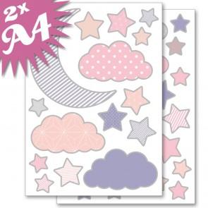 Wandsticker Set A4 - Mond und Sterne