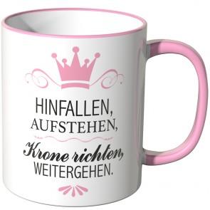 JUNIWORDS Tasse HINFALLEN, AUFSTEHEN, Krone richten, WEITERGEHEN.