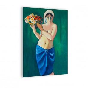 Leinwandbild Frau eine Blumenschale tragend
