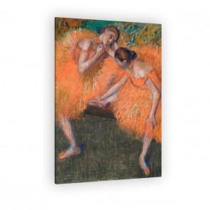 Zwei Tänzerinnen richten ihre Schuhe von Edgar Degas als Leinwandbild