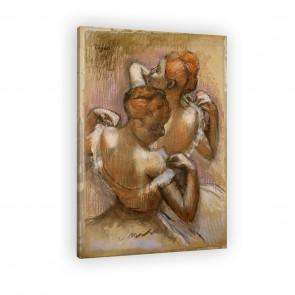 Zwei Tänzerinnen richten ihre Schulterträger von Edgar Degas als Leinwandbild