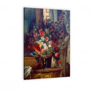 Eugène Delacroix - Vase mit Blumen auf einer Konsole