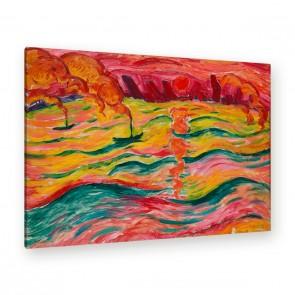 Walter Ophey – Flusslandschaft mit Schiffen und roter Sonne