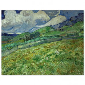 Poster Vincent van Gogh - Berglandschaft hinter dem Hospital Saint-Paul