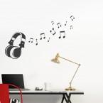 Kopfhörer mit Noten Wandtattoo