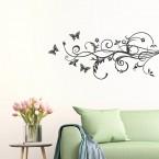Schmetterling Hibiskus Ranke Wandtattoo