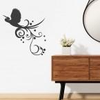Vogel mit Ranke Wandtattoo